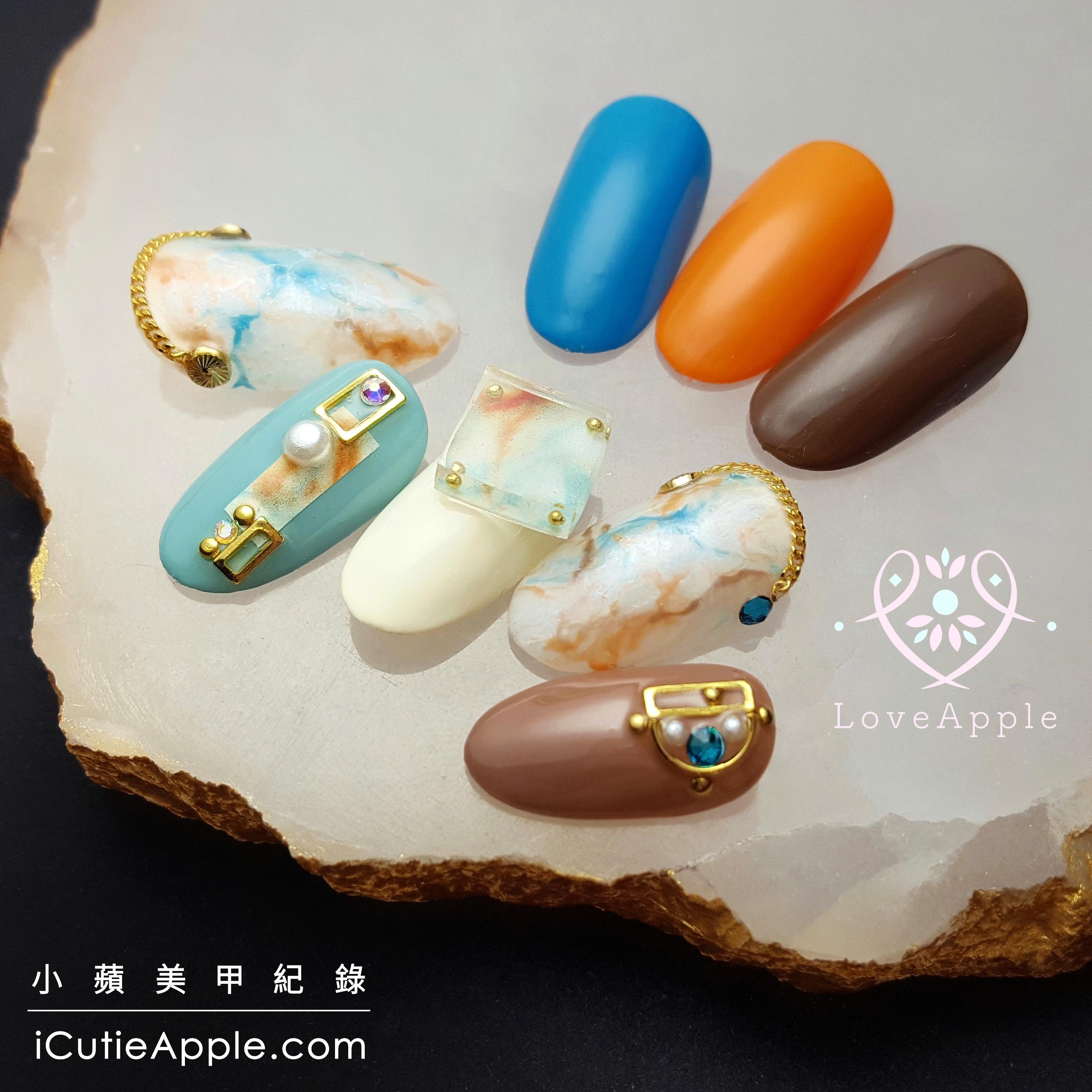 【美甲彩繪】微立體感夾心花卉與石紋設計 ❤ 日本精品級凝膠KOKOIST嚴選獨特色系開箱與運用